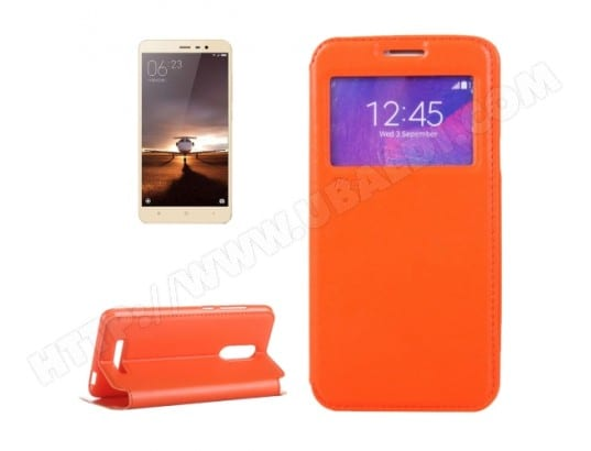Xiaomi Redmi Note 3 Housse Etui Cuir PU Orange Texture Peau ALSATEK AL93628 Pas Cher