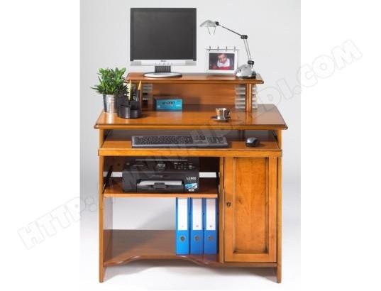Bureau informatique louis philippe merisier avec réhausse simmob