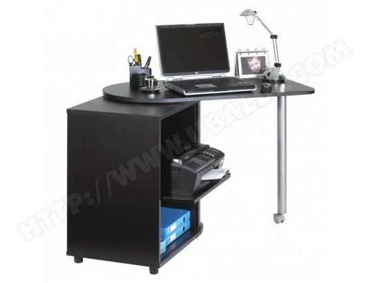 Bureau informatique noir pivotant et rideau imprimé coloris
