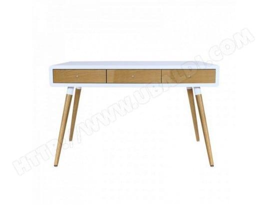 Bureau blanc tiroirs chêne pieds chêne beaux meubles pas chers