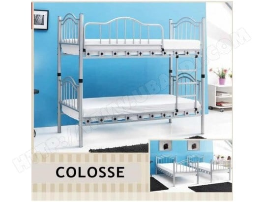 colosse | lits superposes 1+1 blanc + matelas elite elite