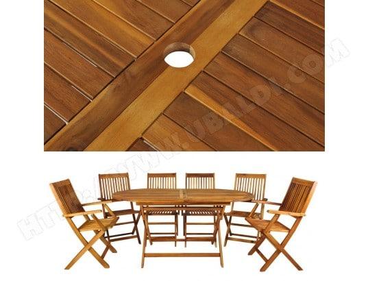 Salon de jardin en bois naturel huilé 1 table + 6 chaises MALATEC ...