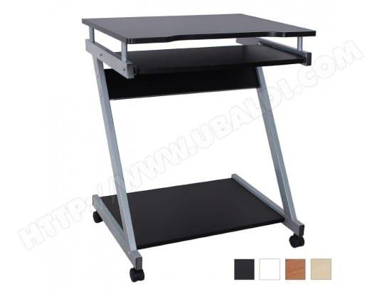 Bureau table meuble informatique avec tablette clavier et roulettes