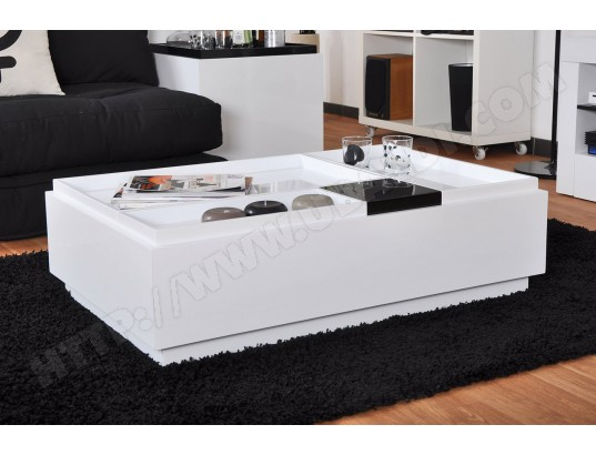 table basse ub design brooklyn blanche rectangulaire pas cher. Black Bedroom Furniture Sets. Home Design Ideas