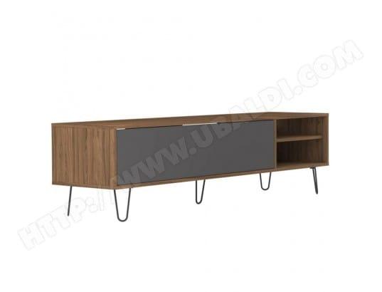 Meuble TV design scandinave LACKBERG 1 porte abattant noyer INSIDE75 20100866662
