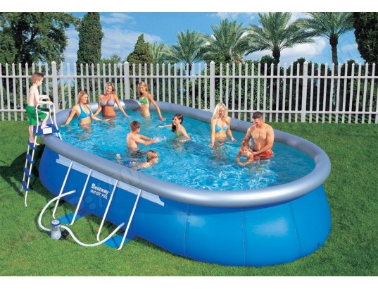 piscine bestway oval fast set pool 610x366x122 56121 pas. Black Bedroom Furniture Sets. Home Design Ideas
