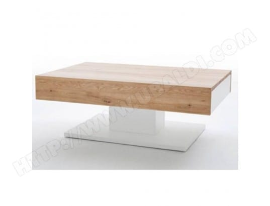 inside75 table basse design chani blanche mate et chne 2 tiroirs blanc 20100871991 - Inside75 Table Basse