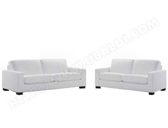 Canap cuir sofa como venezia 3 places 2 places blanc for Canape cuir blanc 2 places