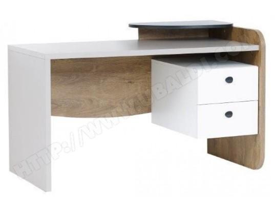 Bureau moderne 135 cm avec 2 tiroirs coloris blanc et gris p 17217