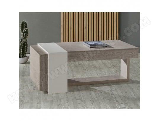 Table Basse Relevable 2 Tiroirs Chêne Clairblanc Esteban L 110