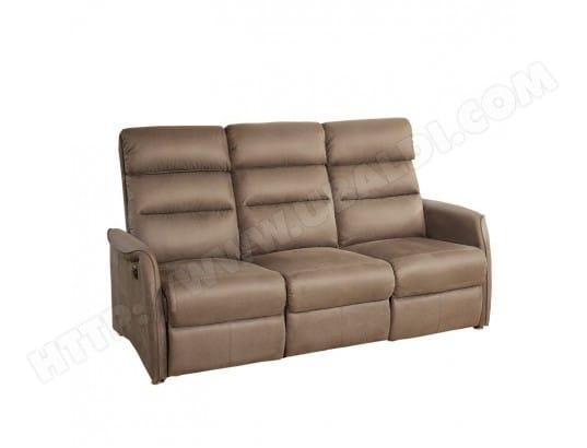 bas prix 2941b d2982 Canapé Relax électrique 3 places Marron cendré - SOFTY - L ...