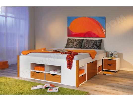 lit avec rangement interlink bellini 140x200 miel pas cher. Black Bedroom Furniture Sets. Home Design Ideas