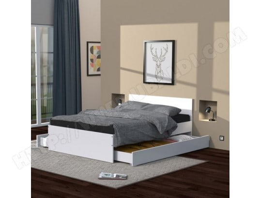 Lit 140X190 cm avec tête de lit et deux tiroirs OSLO / Blanc LE QUAI DES AFFAIRES 22979