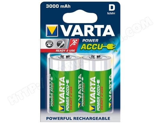Pile rechargeable VARTA HR20 x2 3000 mAh Power Accus - C Ready 2 Use