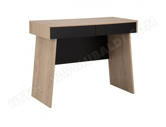 Bureau Noir Tiroirs : Bureau 2 tiroirs bois clair noir liam l 100 x l 45 x h 76