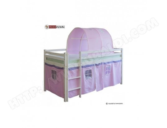 Lit Simple Blanc 90x200 en hauteur avec echelle rideau et tunnel rose HOMESTYLE4U MA-16CA187LITS-TKGWV