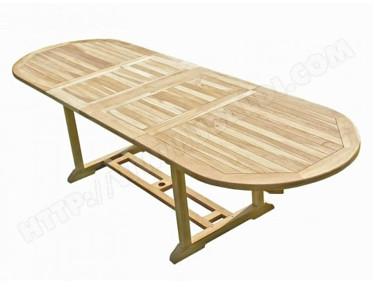 Table de jardin en teck HENUA 10/12 places CONFORT & LOISIRS MA ...