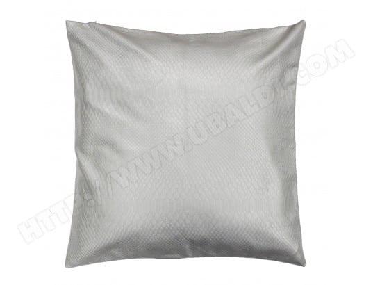 Housse de Coussin polyester Encart PU Uni C1064 Argent 40 x 40 cm