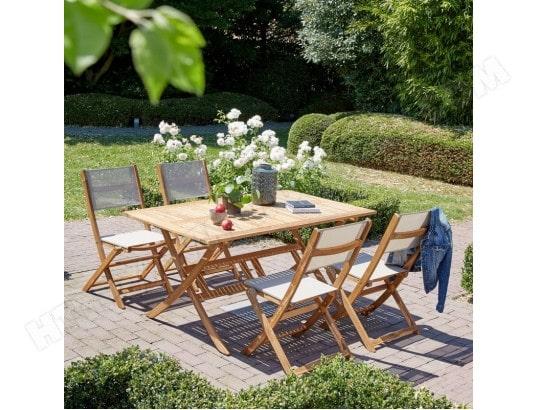 Salon de jardin en bois d\'acacia FSC 4 à 6 places BOIS DESSUS BOIS ...