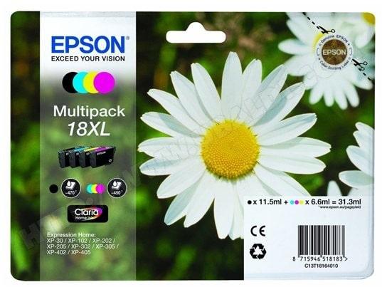 Pack cartouches d'encre EPSON T1816 Pack 4 couleurs XL