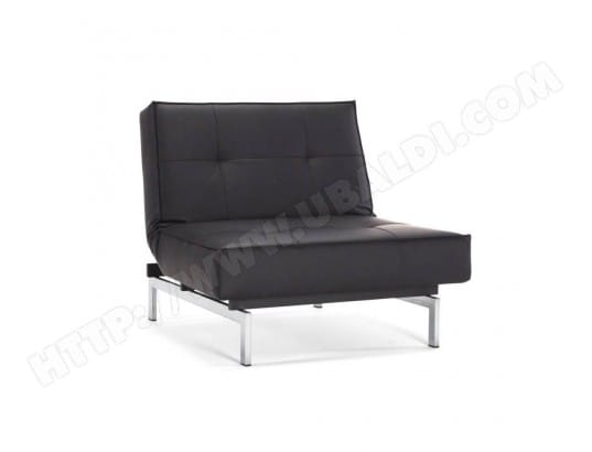Fauteuil lit design SPLITBACK CHROME noir Leather Look Black convertible 90*115 cm INSIDE75 MA-42CA92_FAUT-Y6H9M
