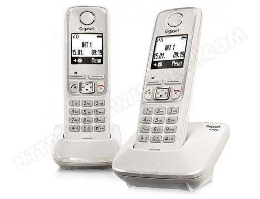 Téléphone sans fil SIEMENS GIGASET A420A Duo Blanc