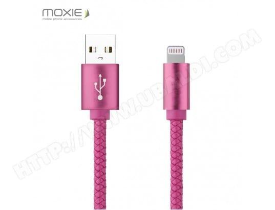 Câble data Moxie cuir tressé Pink compatible iPhone 5/5S/5C/SE/6/6S/6+/6S+/7/7+ MOXIE MA-13CA41_CABL-1UAY8