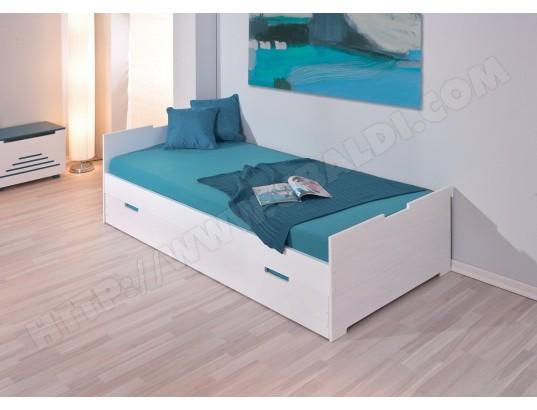 lit tiroir interlink lit kids martin blanc 90x200 pas cher. Black Bedroom Furniture Sets. Home Design Ideas