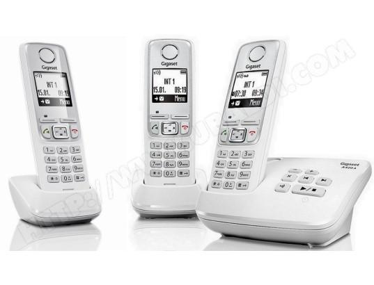 t l phone sans fil siemens gigaset a420a trio blanc pas cher. Black Bedroom Furniture Sets. Home Design Ideas