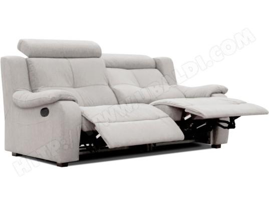 canap microfibre poldem lola 3 places relaxation gris pas cher. Black Bedroom Furniture Sets. Home Design Ideas
