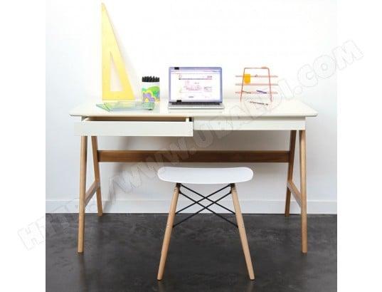 Bureau scandinave laque et bois 120cm skoll couleur blanc drawer