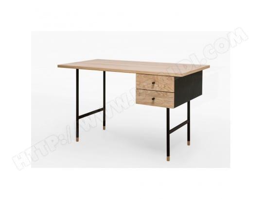 Bureau design chêne et métal noir tiroirs jugend couleur