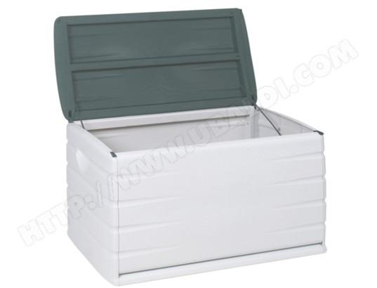 Coffre de rangement plastiken 97120 vert jardin et blanc 390 litres pas cher - Coffre rangement blanc ...