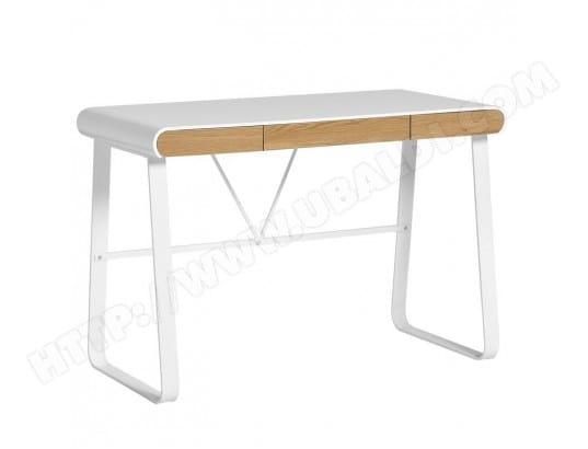 Bureau blanc et tiroirs bois lito l 110 x l 55 x h 76