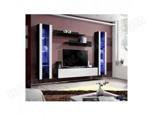 Meuble TV FLY A2 design, coloris noir et blanc brillant + ...