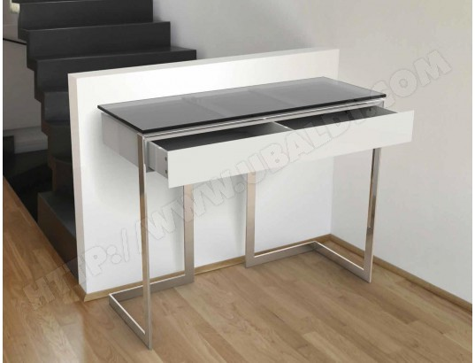 console ub design console avec tiroir katia inox verre gris fum pas cher. Black Bedroom Furniture Sets. Home Design Ideas