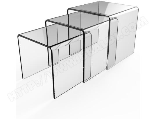 Tables Gigognes Ub Design Lot De 3 Tables Gigognes En Verre Trempé