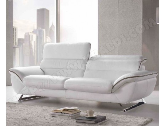canap cuir satis cruise 3 places fixe blanc taupe pas cher. Black Bedroom Furniture Sets. Home Design Ideas