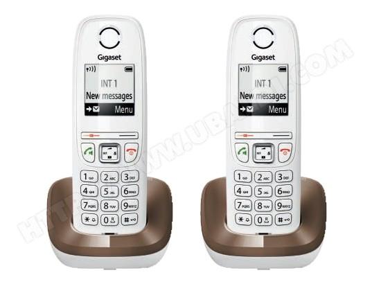 Téléphone sans fil SIEMENS GIGASET AS405 Duo chocolat