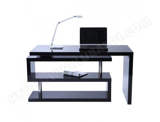 Bureau design noir laqué amovible max miliboo pas cher