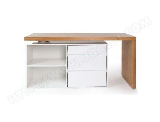 Bureau design modulable blanc brillant et frêne new max miliboo