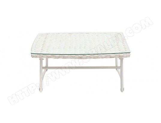 Salon de jardin résine tressée blanc et bleu foncé avec table basse ...