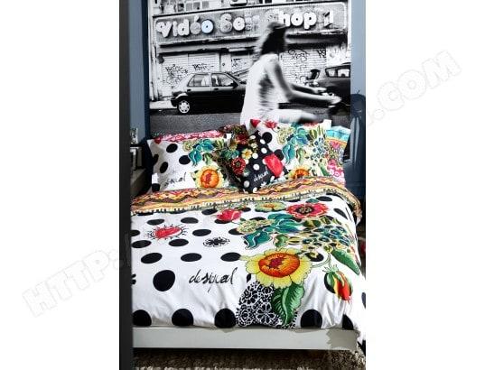 parure de lit housse de couette desigual parure polka hdc 240x220 2 to 65x65cm pas cher. Black Bedroom Furniture Sets. Home Design Ideas