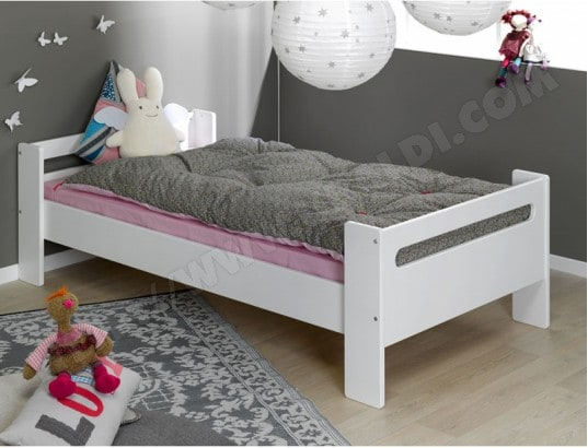 lit enfant sofamo london blanc lit bas 90x190 pas cher. Black Bedroom Furniture Sets. Home Design Ideas