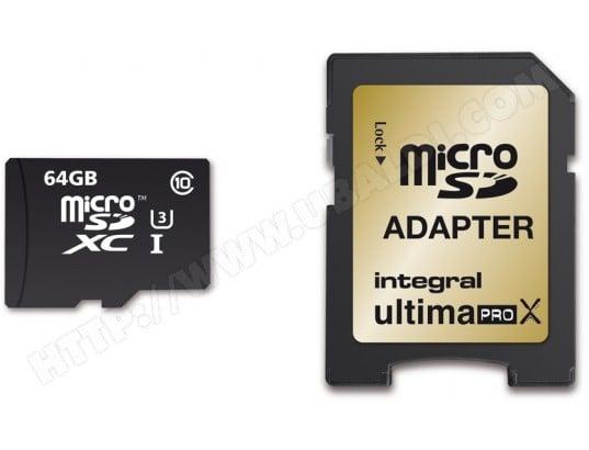Carte mémoire 64 Go INTEGRAL MicroSDXC 64 Go UltimaPro X Gold + adaptateur SD