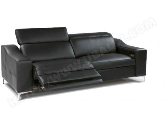 canap cuir divani form oscar 3 places 2relax lectriques cuir noir pas cher. Black Bedroom Furniture Sets. Home Design Ideas