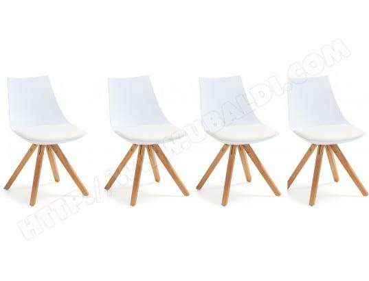 Chaise LF Lot De 4 Chaises Armony Blanc Pur Htre Pas Cher