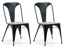 Chaise LF Lot de 2 chaises Vita métal/bois