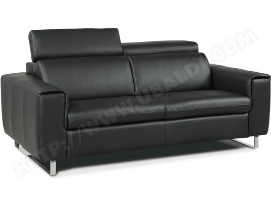 canap lit divani form plis 2 pl maxi cuir noir matelas 140 21kg pas cher. Black Bedroom Furniture Sets. Home Design Ideas