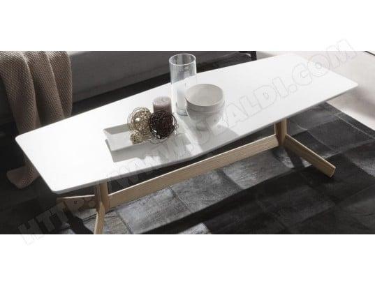 Table basse LF Tripod Blanc et bois 130 x 55 cm Pas Cher | UBALDI.com